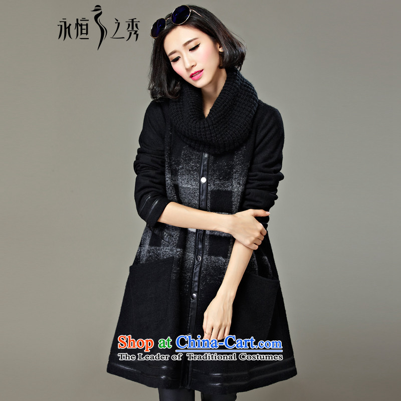 The Eternal Soo-to increase women's code gross? 2015 autumn and winter coats jacket with thick MM thick, Hin thin sister in long new 200 black and white checkered Ms. catty jacket (a) 3XL