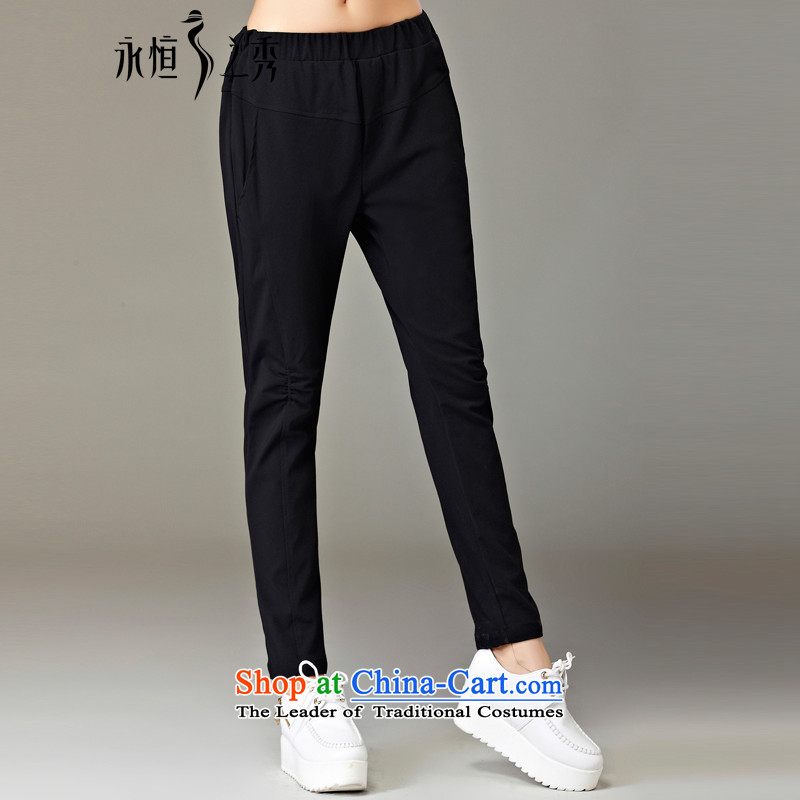 The Eternal Soo-to increase women's code 200 catties, forming the pants 2015 Fall_Winter Collections thick mm sister leisure castor trousers thick, Hin thin new long trousers, black 4XL