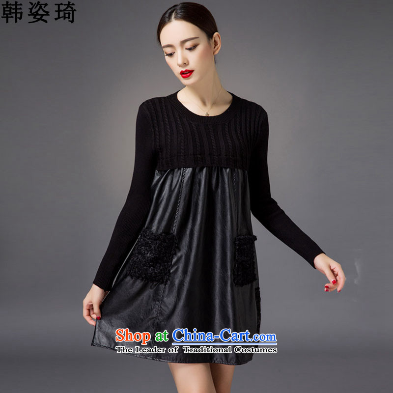 Gigi Lai Ki 2015 won the autumn and winter new larger female thick MM loose video thin dresses 951 black color XXXL