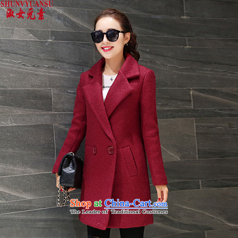 Lady element�15 autumn and winter in New Long Hair Girl Korean jacket?   Graphics thin leisure long-sleeved wild wool a wool coat larger female thick red燣