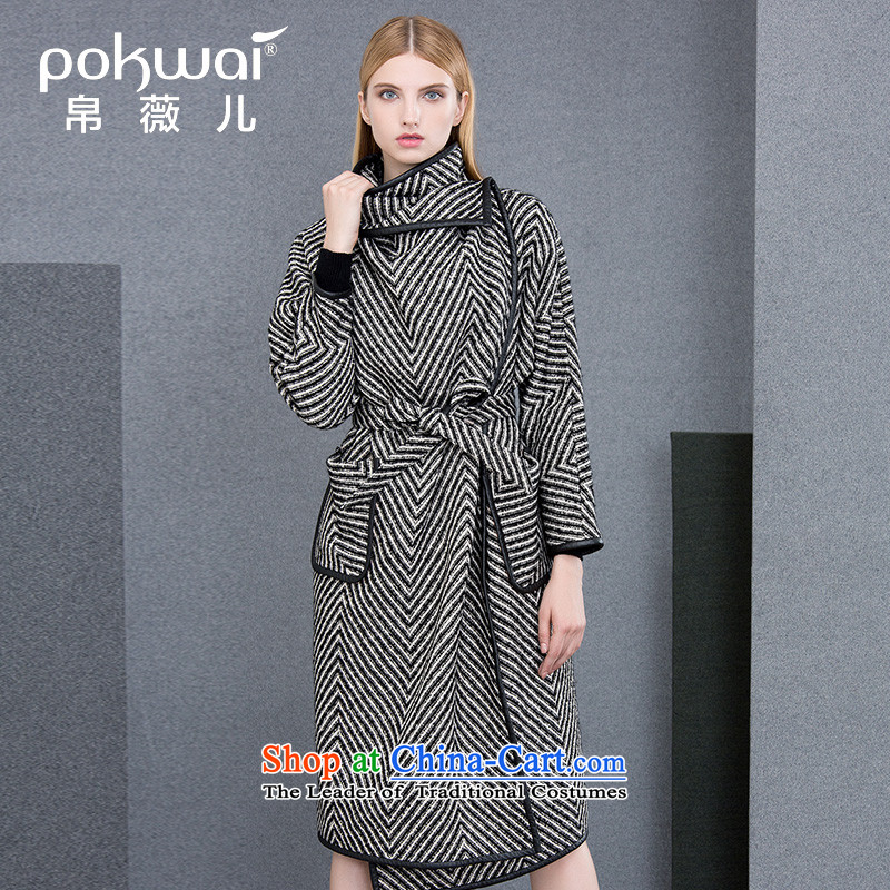 The Hon Audrey Eu Yuet-yung 2015 9POKWAI/ winter clothing new western lapel color plane collision with a long hair black and white jacket? S