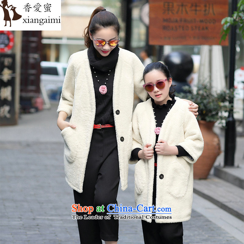 The Champs Elysees Honey Love 2015 autumn and winter new parent-child replace Ms. Lamb Wool coat short of liberal? leisure sweet air 7 cuff a wool coat m white baby XL