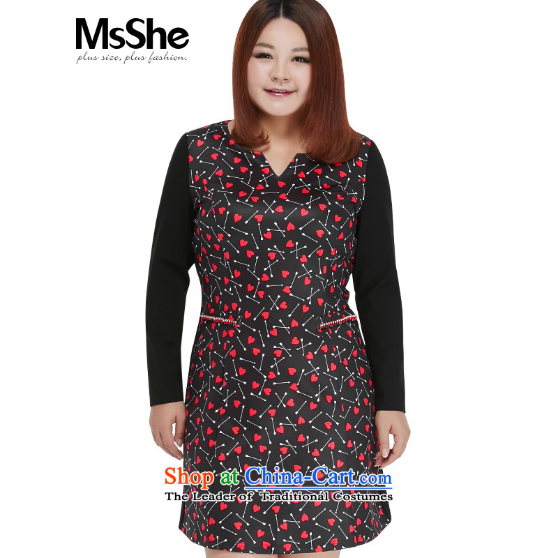 Msshe xl women 2015 new autumn and winter Fat MM stitching knocked long-sleeved leave Pocket dresses 10395 On-Board black�L Safflower