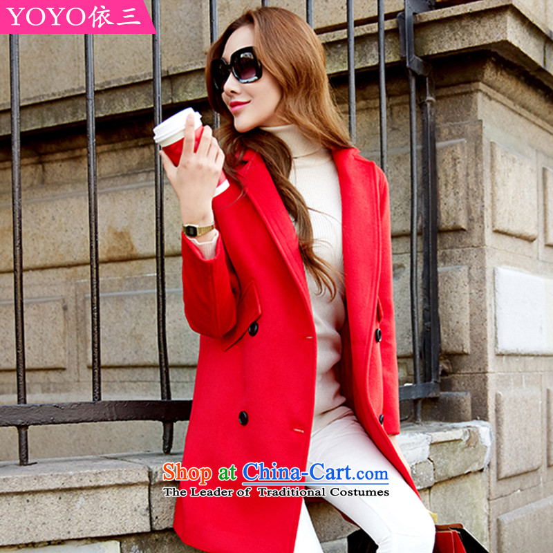 The YOYO optimization with a stylish new autumn 2015 wild temperament gross V1622 jacket coat? red L