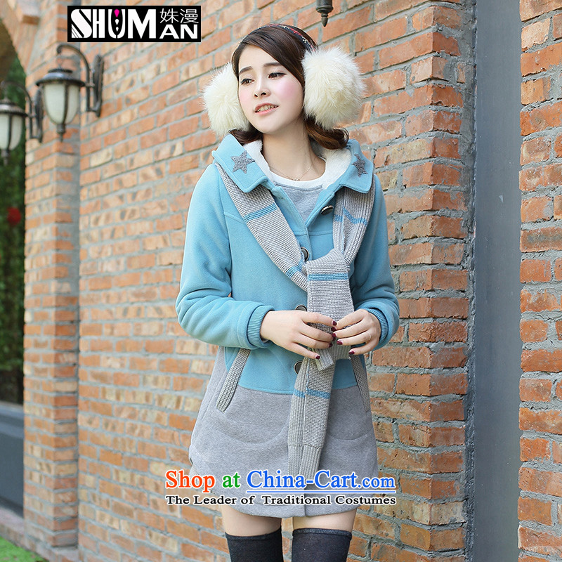 This diffuse girls winter 2015 new_ long hair? Jacket Korea Sau San edition of secondary school students with cap lovely thick coat gentlewoman cloak? Blue燤
