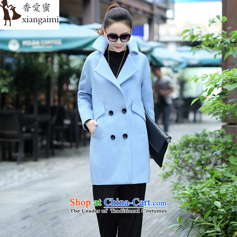 The Champs Elysees Honey Love 2015 autumn and winter new aristocratic small wind Western wind hair incense?   Graphics thin cashmere overcoat, long, large lapel a wool coat female blue L
