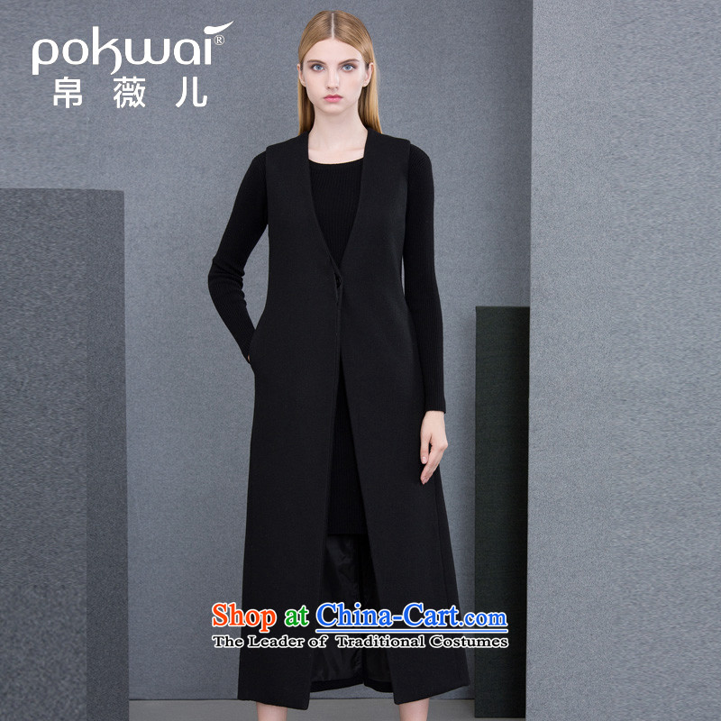 The Hon Audrey Eu Yuet-yung 2015 9POKWAI_ autumn and winter original design of Europe and the black sleeveless jacket black燤 Gross?