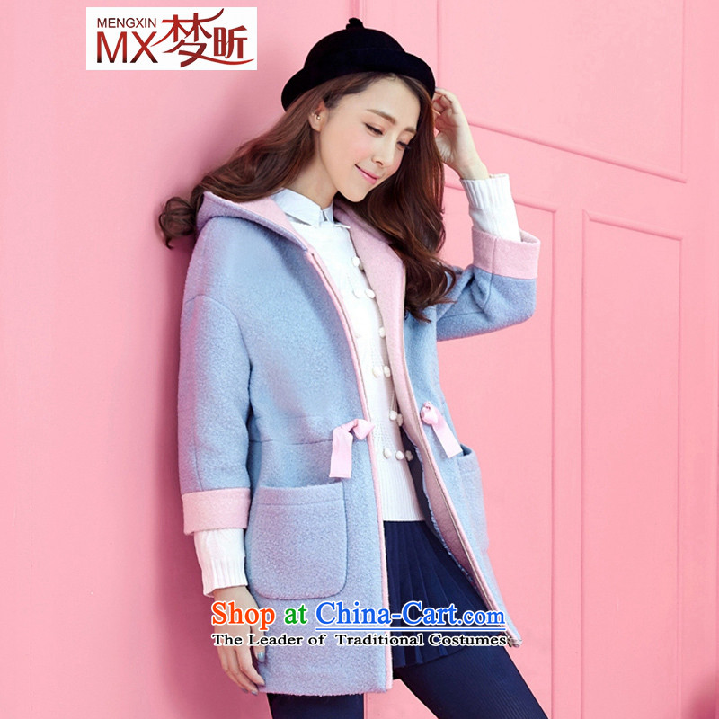 The litany of爂irls for winter 2015 new middle and high school girls coats that long wool?_ with cap reinforcement a wool coat female light blue燲L
