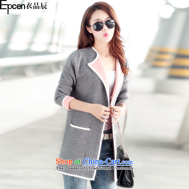 Yi Jin _epcen No. 2015 Autumn_ female new Korean version in the relaxd long wind jacket GD9151 Gray L