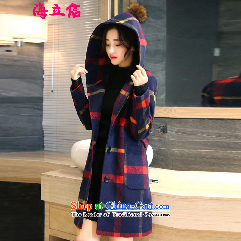 Letter alite聽2015 winter clothing new products Sau San with cap grid gross butted? long thick hair? coats of female Huang Hongying聽M