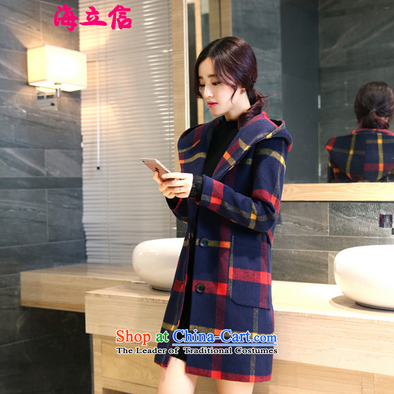 Letter alite聽2015 winter clothing new products Sau San with cap grid gross butted? long thick hair? coats of female Huang Hongying聽M ALITE Letter , , , shopping on the Internet