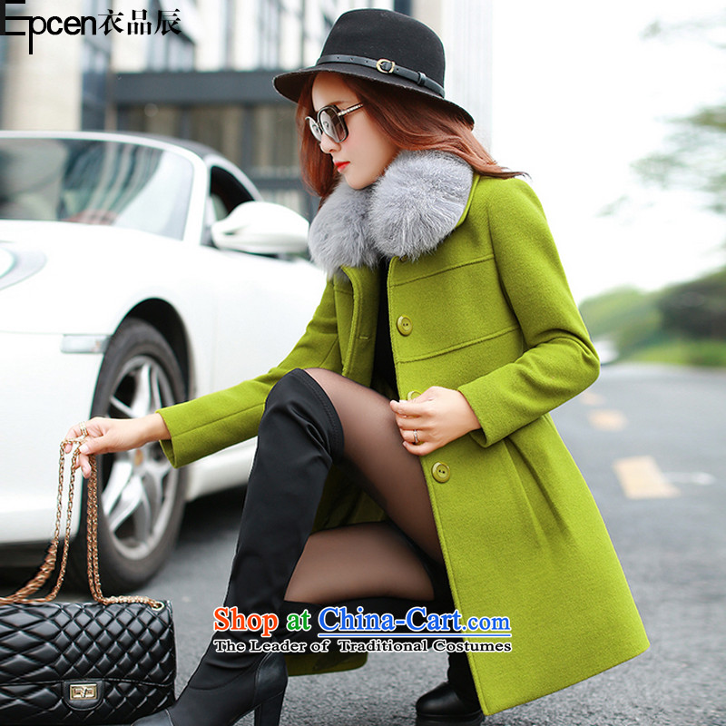 Yi Jin (epcen No. 2015), autumn and winter new products Women warm gross a wool coat FF5045 green XL