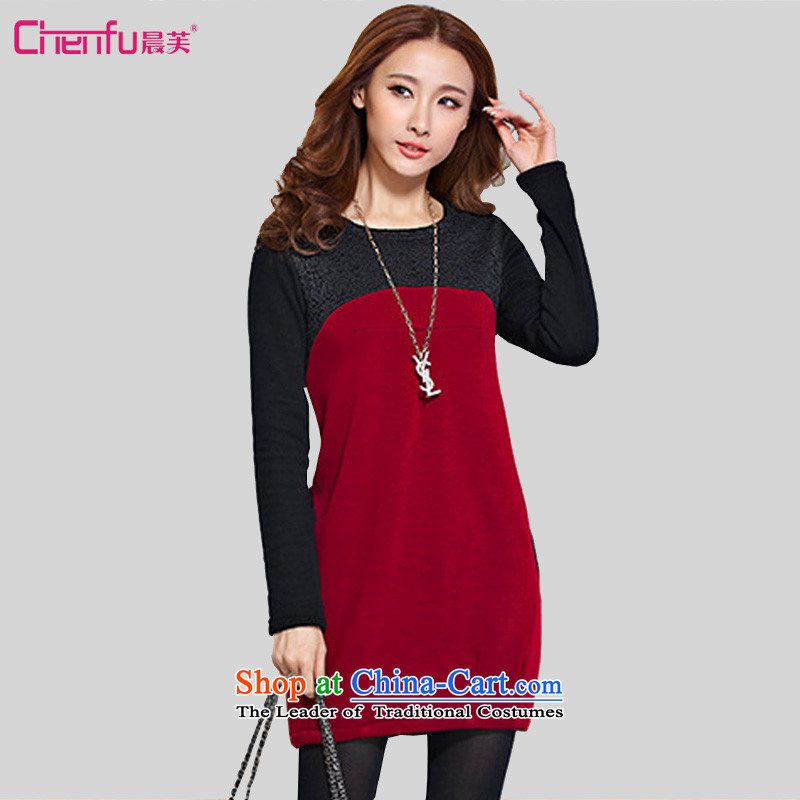 Morning to 2015 autumn and winter new Korean version of large numbers of ladies wear skirt the lint-free thick Sau San video lace thin stitching skirt wear long-sleeved skirt2XL( wine red 135-150 recommended catty)