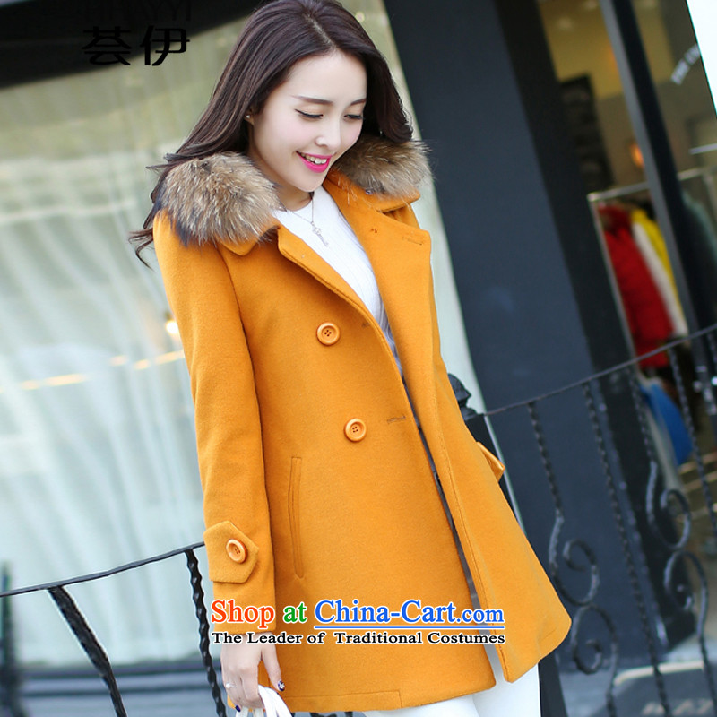 Aloe vera, 2015 autumn and winter new Korean female coats of Sau San Mao? In long thick coat jacket HY1282 Ms. gross? ore WONG燣