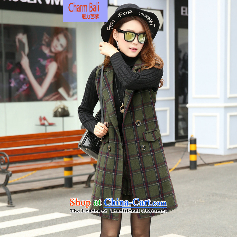 Charm and Asia 2015 winter clothing new Korean modern Western business suits in Sau San long wild, a small suit two kits? Kit Gross Green Grid?XL