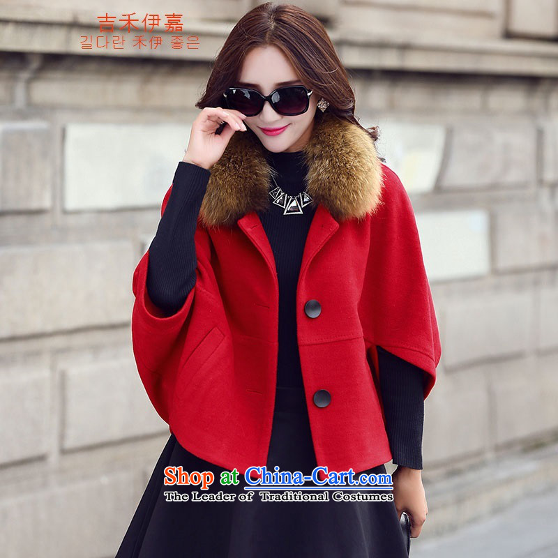Gil Wo Ika autumn and winter bat sleeves cocoon-liberal wool short of what the Wind Jacket female incense funnels Fung a cashmere overcoat Sleek and versatile large red hair for聽L