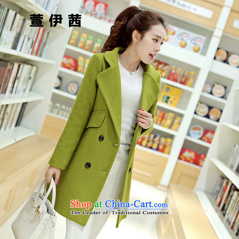 Xuan of sin 2015 autumn and winter new Korean loose video thin hair? coats female pure color lapel Stylish coat803greenM