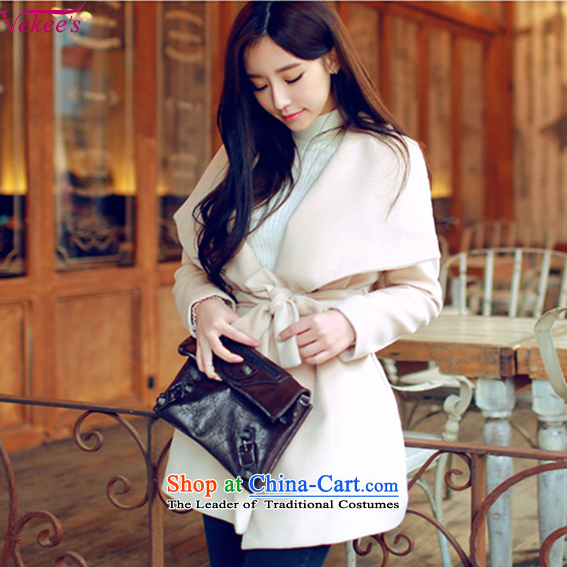 Vekee' s 2015 autumn and winter new Korean version of the video in Sau San thin long cashmere overcoat female聽69.9 gross?聽cream聽S