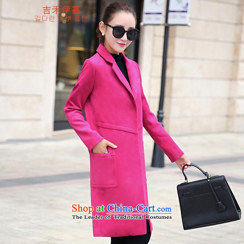 Gil Wo Ika 2015 autumn and winter new stylish ultra long suit for Sau San leisure wool a wool coat gross? female jacket Sleek and versatile Smoke GrayXL