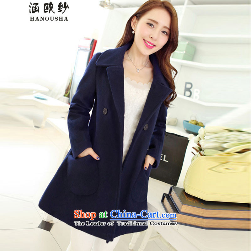 Euro2015 yarn covered by the autumn and winter new gross jacket version won? long loose video thin coat cloak?? jacket women larger navyXXXL