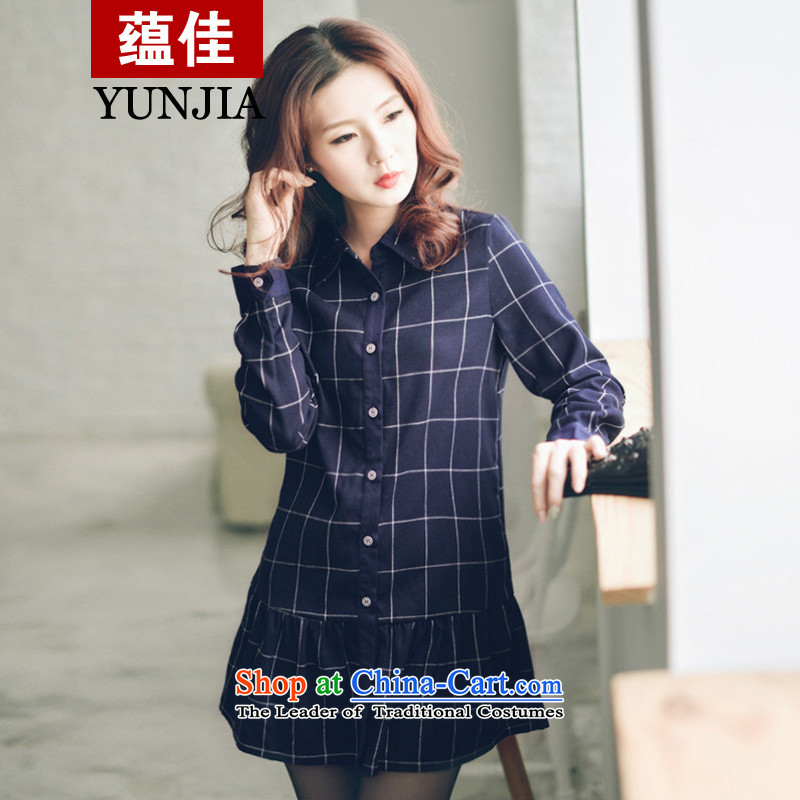 To install the latest Autumn 2015 better products and stylish Korean Mock-neck latticed stamp to xl 100 pleated skirts swing dresses blue2XL