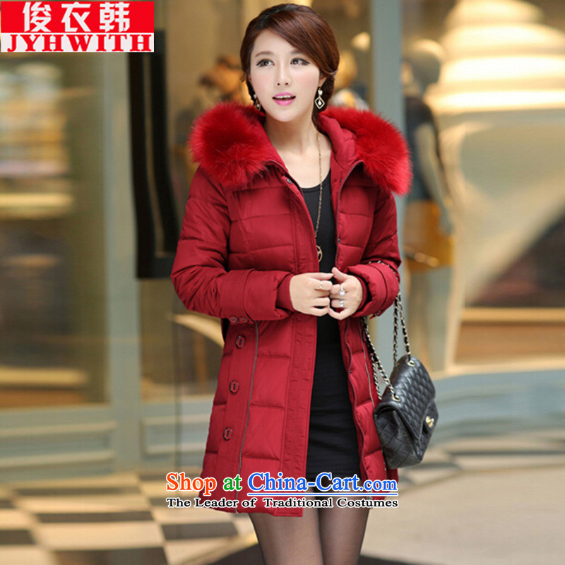 Mr James TIEN Yi Won thick-mei women 200 catties female feather cotton coat extra female winter robe girl for women large jacket female feather cotton coat to increase the number of female 泾蜮 BOURDEAUX�L爏uitable for 195 to 205 catties thick sister