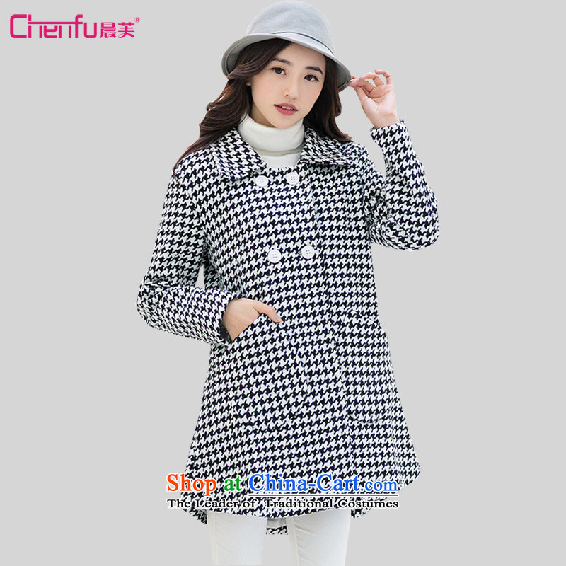 Morning to the new Korean 2015 large stylish women Chidori-thick coat of gross? wild reverse collar double-gross jacket chidori grid?�L_ recommendations 165-180 catty_
