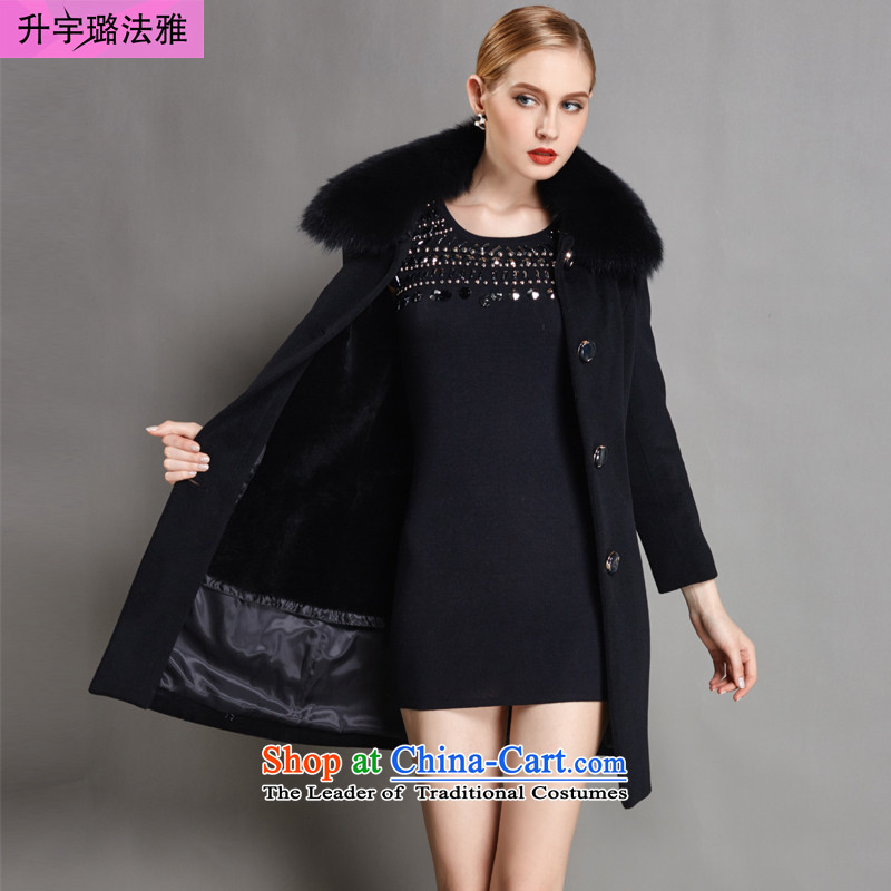 L-woo and purchase high-end women 2015 winter clothing new fox gross Washable Wool Sleeve Cashmere wool coat? long black XL Sau San