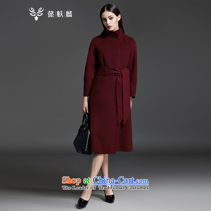 Headquarters or Chu-sided flannel woolen coat female 2015 autumn and winter wine red new ultra long hair so Sau San jacket wine red?M