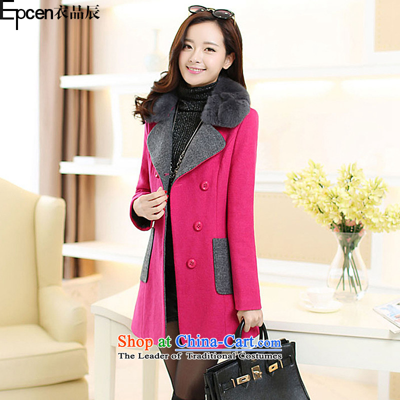 Yi Jin _epcen No. 2015_, autumn and winter new products in the women's long coats thick wind_? BH6111 jacket in red聽L