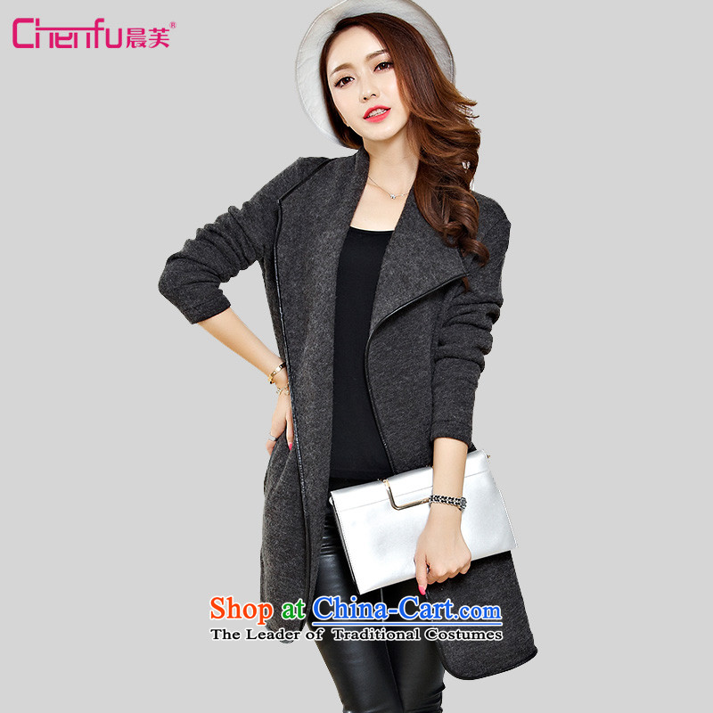 Morning to 2015 autumn and winter new plus hypertrophy code ladies casual jacket thick mm shawl small loose woolen coats mantle gross mantle gray�L_? recommendations 150-165╟atties_