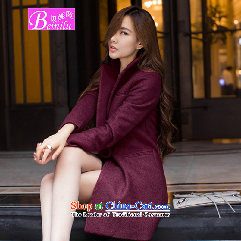 Connie Deer 2015 Autumn Addis Ababa with the new Korean Fleece Jacket is Long Hair Girl autumn and winter OL temperament Sau San cashmere a wool coat wine red cotton plus聽2XL
