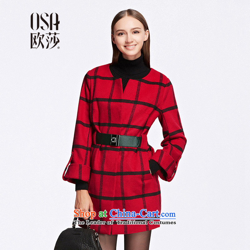 The OSA EURO 2015 Winter New Windsor Women Plaid Stretch Color Plane Collision girdles SD506004 gross? jacket red L
