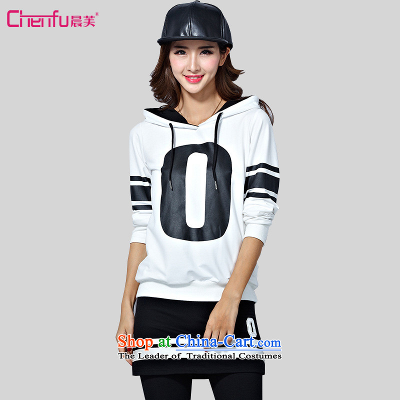 Morning to 2015 autumn and winter sports large suite lounge hoodie long-sleeved letter stamp baseball uniform Skort Two-piece set with white 3XL_ recommendations 150-165¨catties_