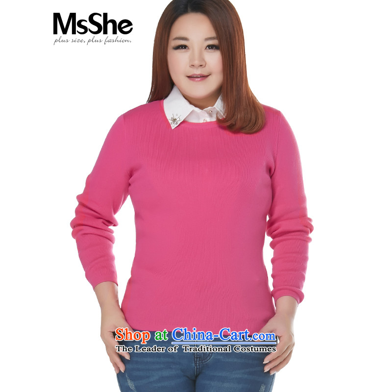 Msshe xl women 2015 new autumn and winter 200 catties wild round-neck collar ribbed sweater, forming the Netherlands 4,157 Red聽2XL