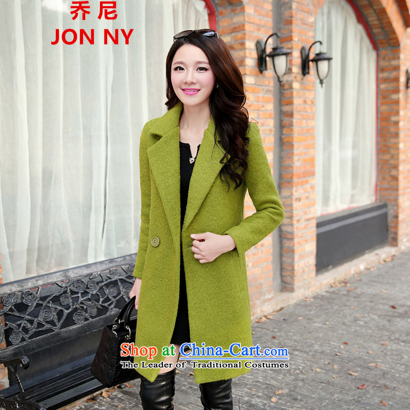 Cioni 2015 autumn and winter Korean Women's jacket? gross wild in the thick of large numbers of Sau San Solid Color wool a wool coat green燣