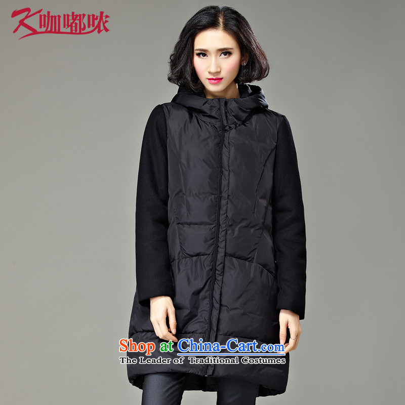 Curry murmured cotton coat larger female autumn and winter new increase to a thin black XXXXL graphics