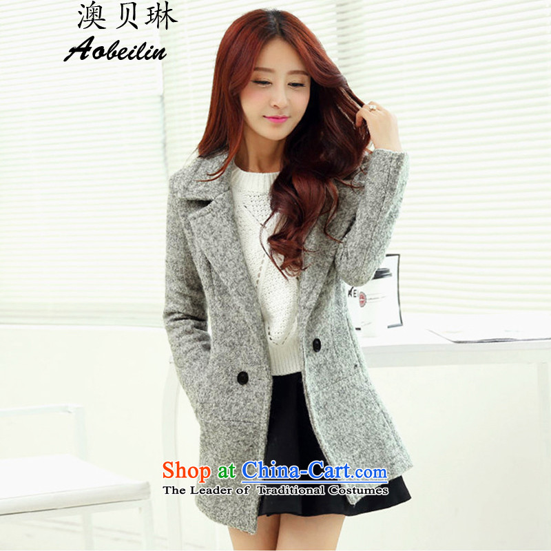 O Pui Kwan 2015 autumn and winter new Korean long thin video   Gross female jacket coat?  8,615  Gray L