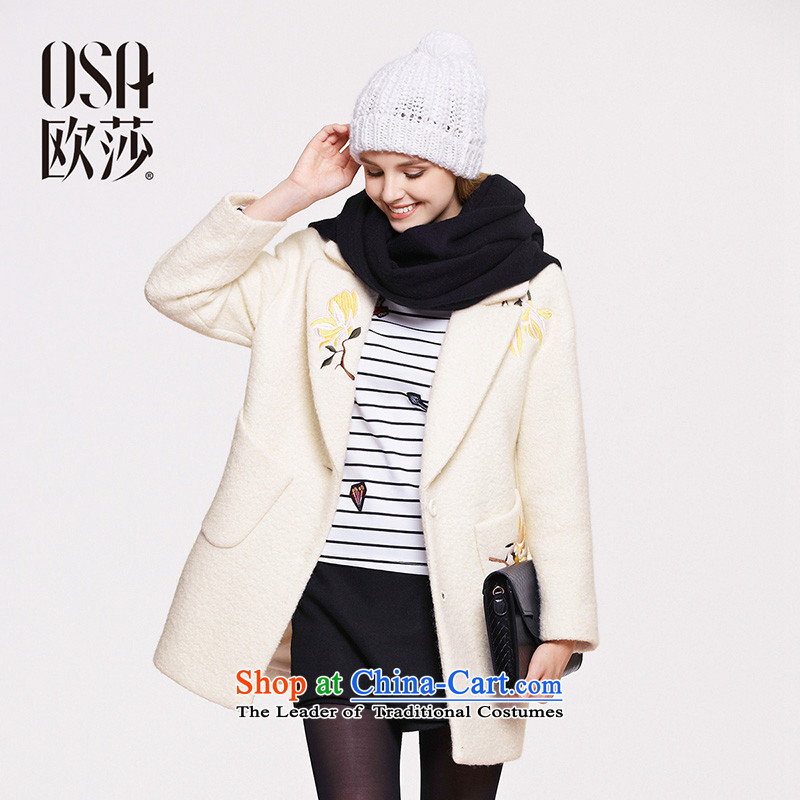 The OSA EURO 2015 Winter New Windsor female embroidered trim really pocket? jacket SD539003 gross m White燣