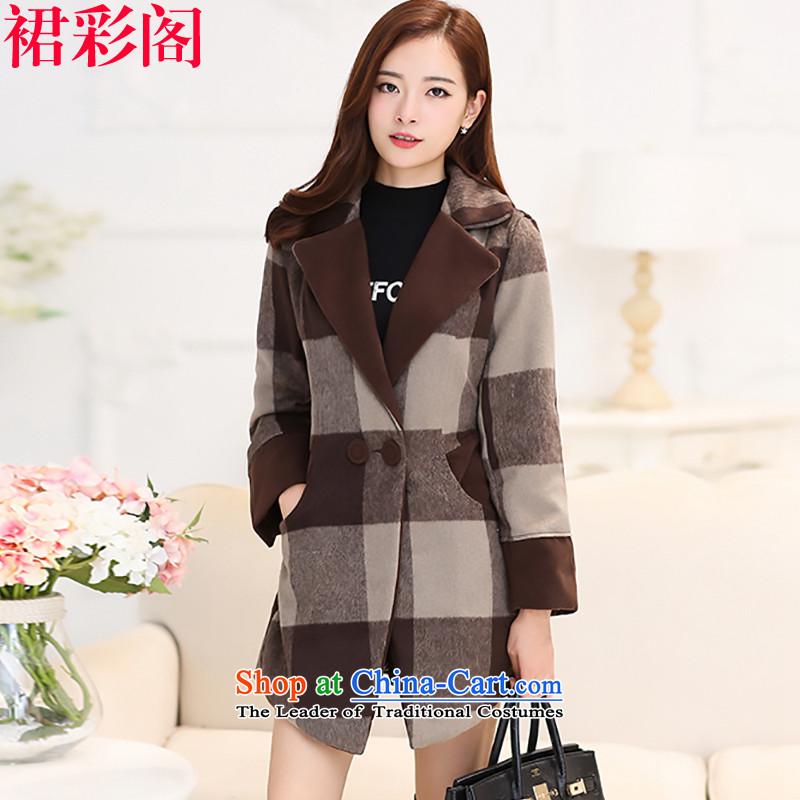The Multimedia Room 2015 Is skirt coats female Korean winter thickened the new grid gross?   we women jacket coat girl in gross long large windbreaker 620 Coffee,L