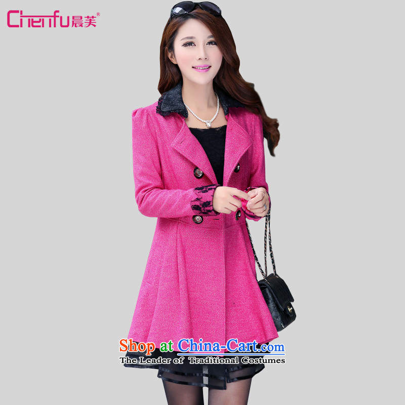 Morning to load the new 2015 autumn to increase women's code? coats thick mm gross Sau San wool a wool coat gauze stitching wind jacket in red3XL recommendations 140-150catty