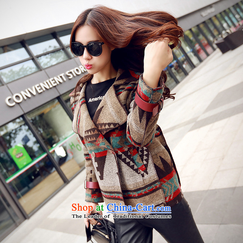 Sin hasloaded the autumn and winter 2015 new Korean fashion arts gross retro look Sau San? female picture color jacket   M