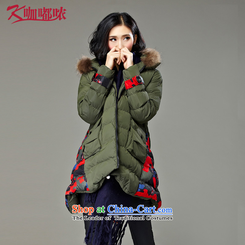Curry murmured larger female cotton coat autumn and winter increase to the new trendy lounge video thin Army Green燲XXL