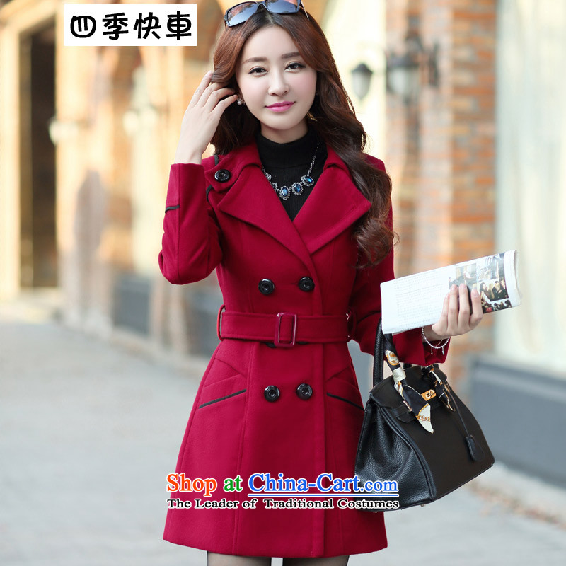 Fourth quarter�15 Express autumn and winter new thick Sau San double-jacket female Korea gross? Edition long hair? coats female 8858 wine red燣