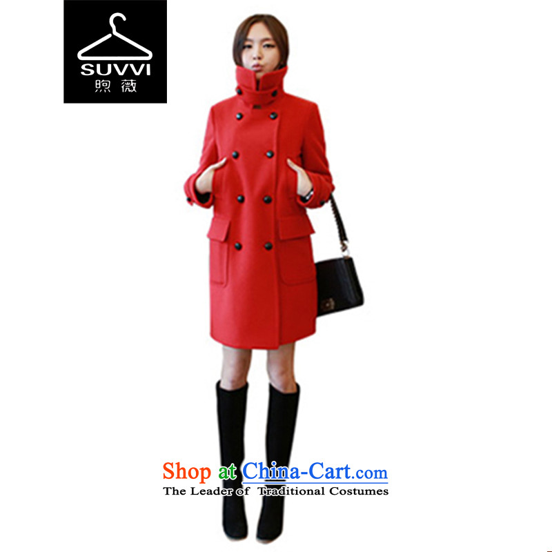 Ms Audrey EU燬UVVI sunbeams 2015 winter clothing new liberal double-a wool coat female red燲L