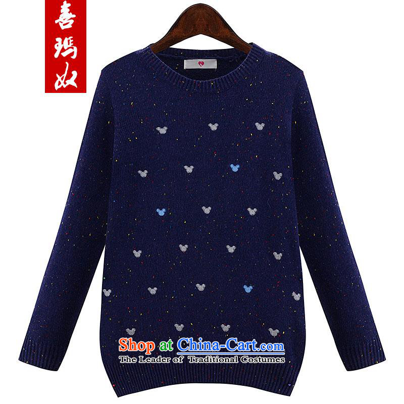 Hei princess爁all 2015 slavery new larger female Korean version thin Knitted Shirt female long-sleeved shirt, forming the hedging Y56529 large blue 3XL code