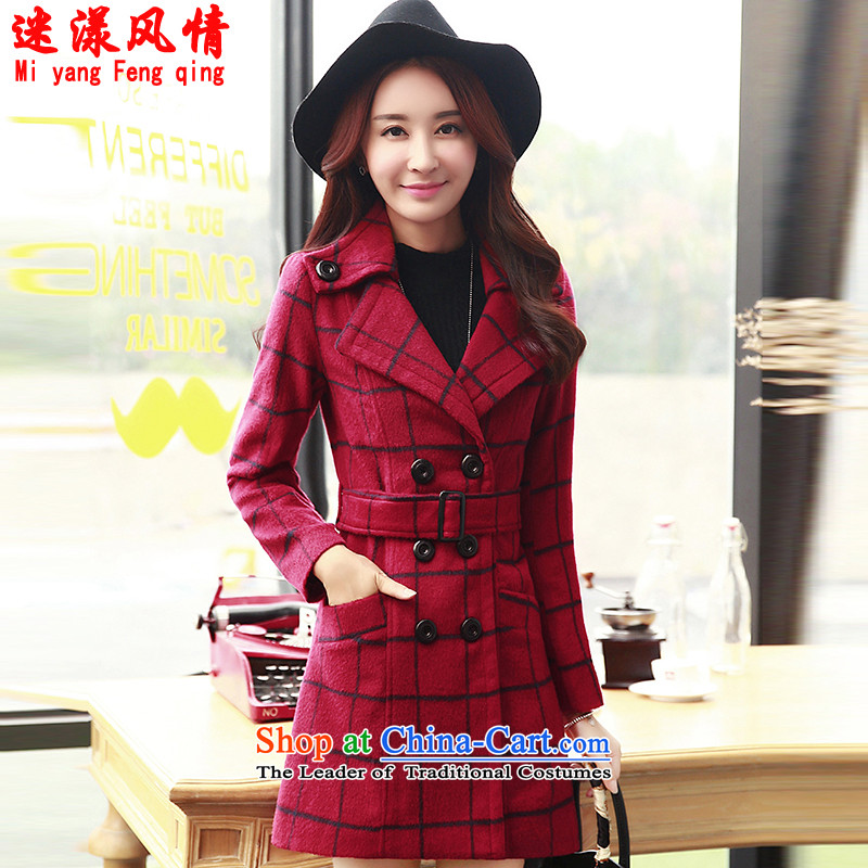 Mini-filled style 2015 autumn and winter coats gross new female Korean?   double-gross? 8802 Red Grid?M coat