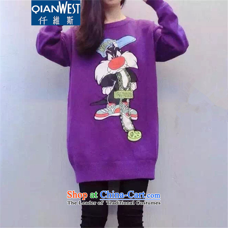The Scarlet Letter, larger female thick sister Sun-Dok2015 Autumn replacing the new MM thick long-sleeved stamp cartoon in long Sweater Knit-57983XL purpleweight recommendations 140-160 characters catty