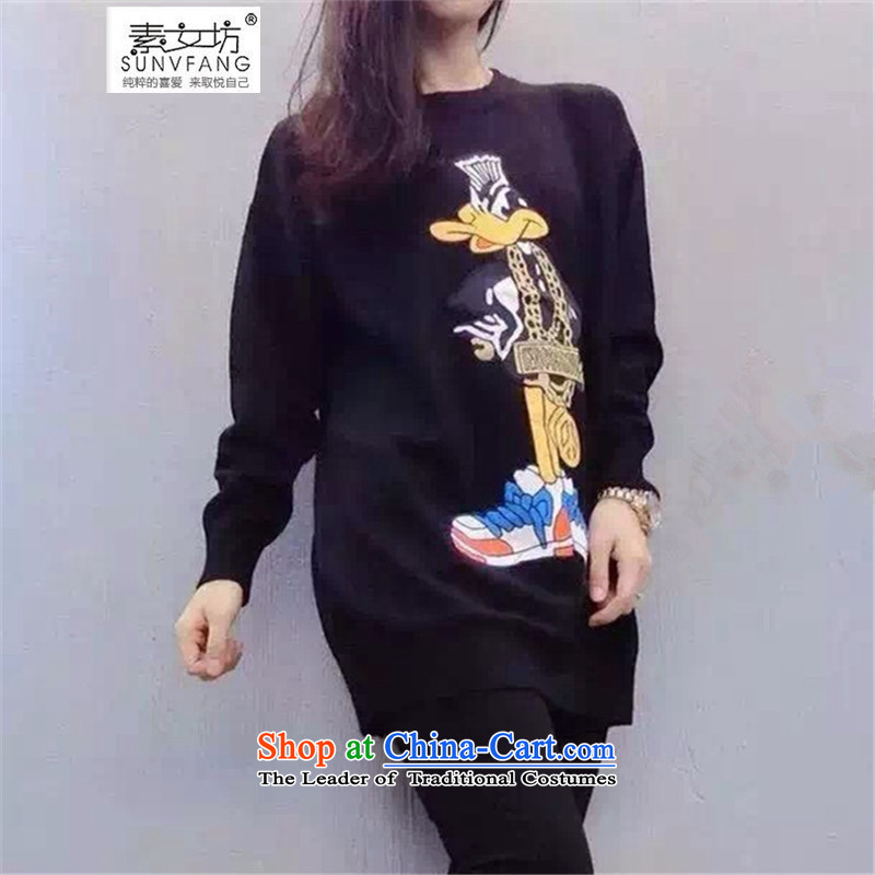 Motome square thick sister larger sweater new) Autumn 2015 MM thick long-sleeved stamp cartoon in long Sweater Knit-5798 Black 5XL 180-215 recommended weight catty