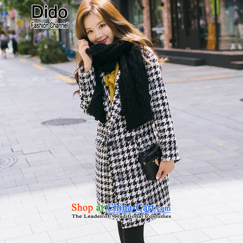 Dido New Korea 2015 winter edition chidori grid gross? female jacket coat in long large leisure suit Sau San a thick Ms. wool black and white燬